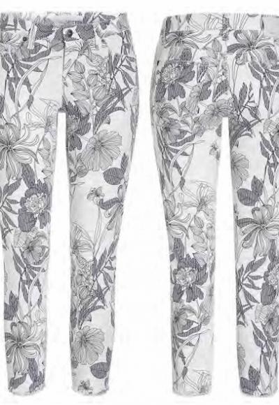 Pantalón vaquero estampado floral